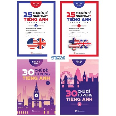 Combo 25 Chuyên Đề Ngữ Pháp Trọng Tâm + 30 Chủ Đề Từ Vựng Tiếng Anh (Bộ 4 Cuốn)